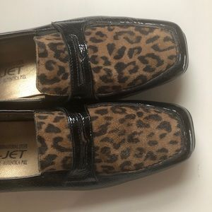 Mephisto leopard patent loafers shoes 7 black